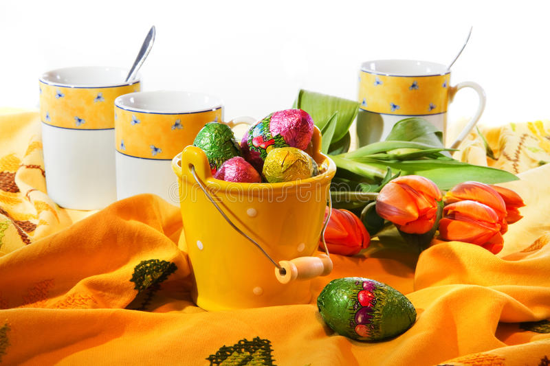 Easter Decoration - Bucket With Chocolate Eggs Stock Photos