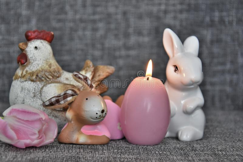 Exceptional Download Easter Decoration, Candle, Chicken And Bunny Stock Photo   Image  Of Background, Awesome Design