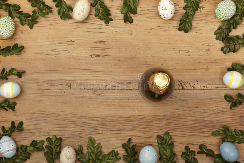 Easter decoration, Champagner bottle on wood royalty free stock photography