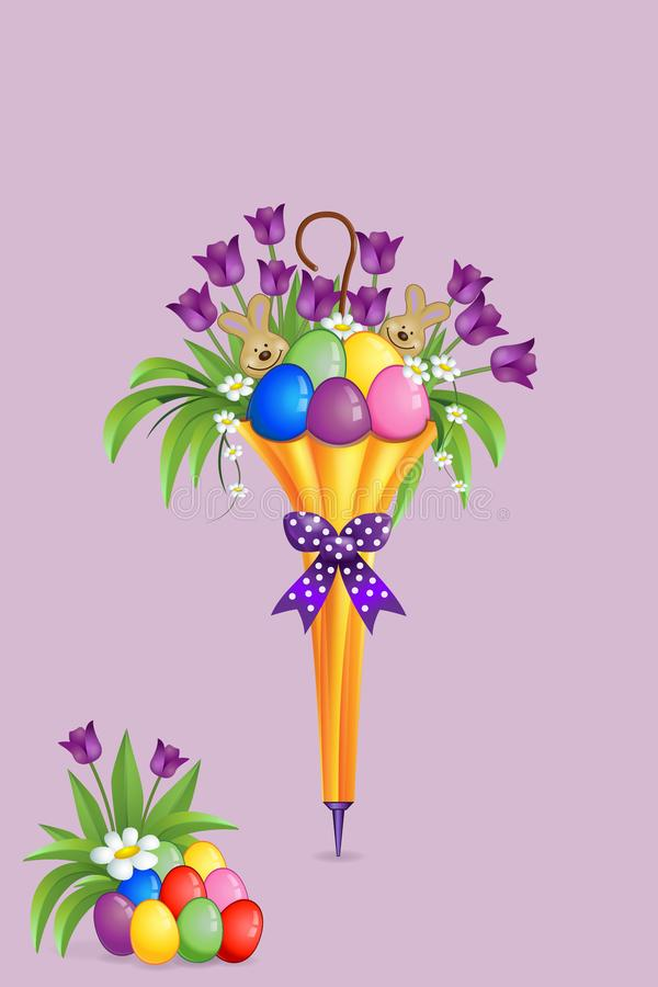 Easter decoration in closed umbrella with flowers, eggs and bunnies stock illustration