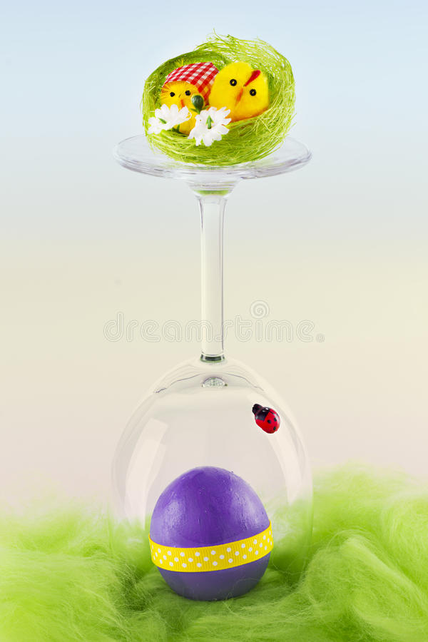 Easter decoration. With egg and chicks stock image
