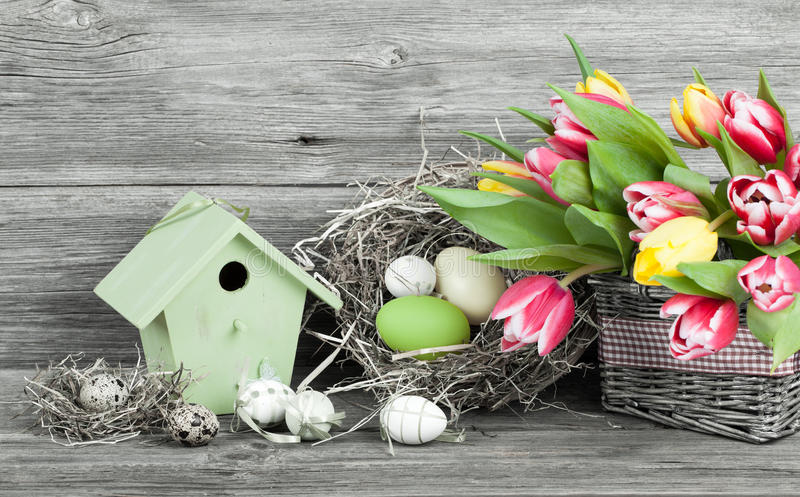 Easter decoration with eggs royalty free stock photo