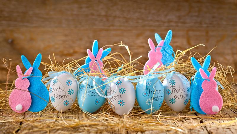 Easter decoration eggs cute bunny. Happy Easter. Vintage style t royalty free stock photo