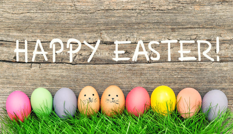 Easter decoration eggs cute bunny Happy Easter royalty free stock photography
