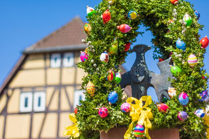 Easter decoration at a fountain royalty free stock photos