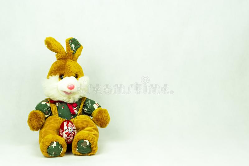 Easter decoration with lovely girl and boy bunny figurines. stock photo