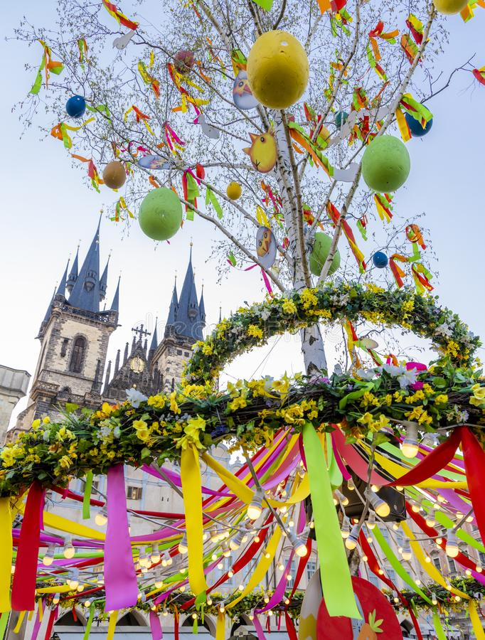 Easter decoration on the old town square, Prague, Czech Republic stock photography