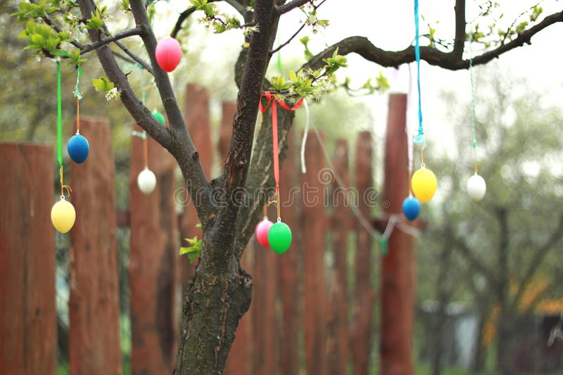 Easter decoration outside in the garden stock image