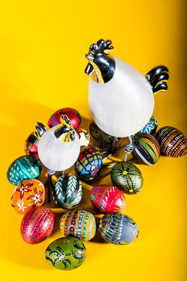 Easter decoration - painted eggs royalty free stock image