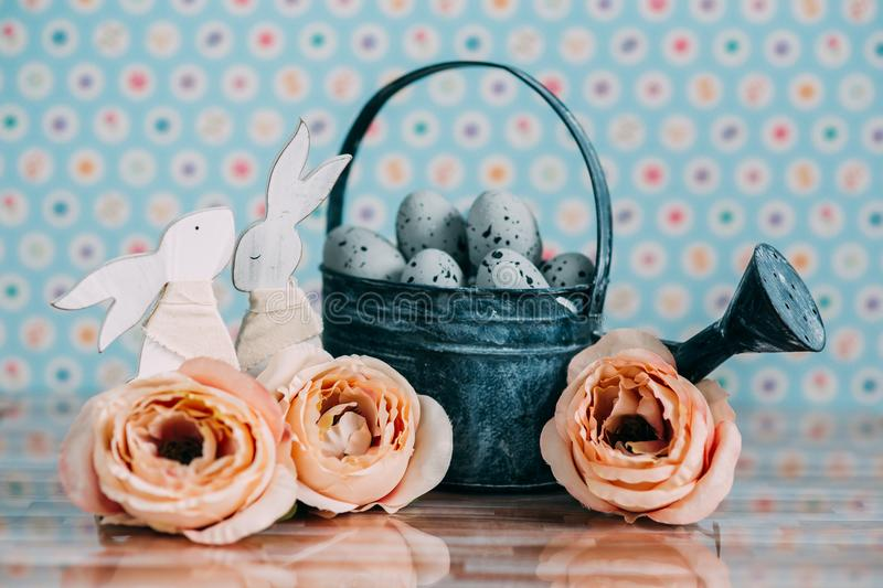 Easter decoration with pastel colors royalty free stock photos