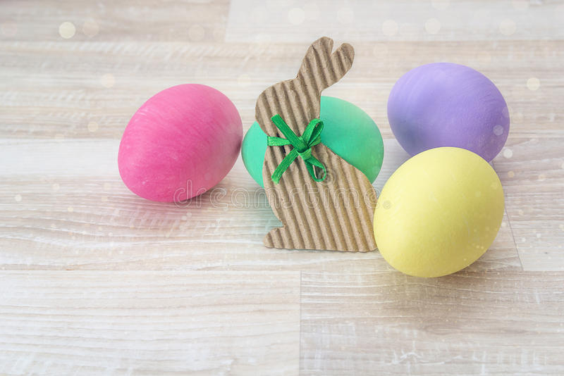 Easter decoration with rabbit and easter eggs. stock image