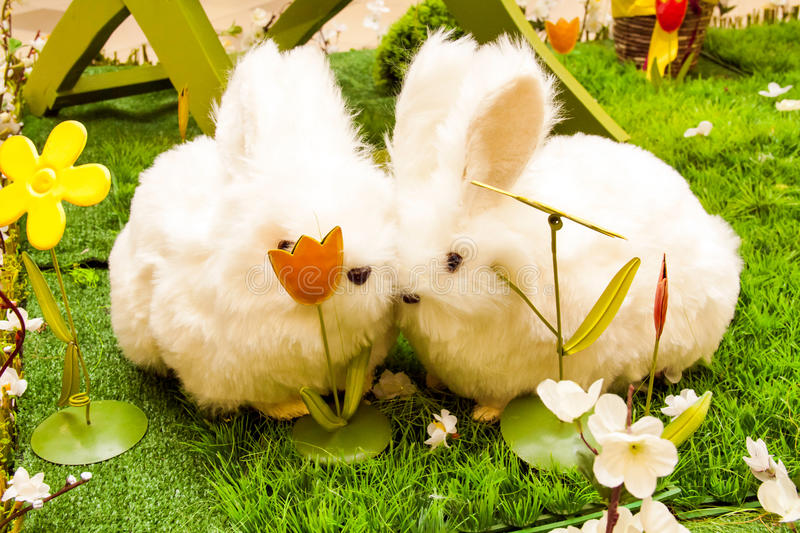 Easter decoration - two cute bunnies in love royalty free stock photo