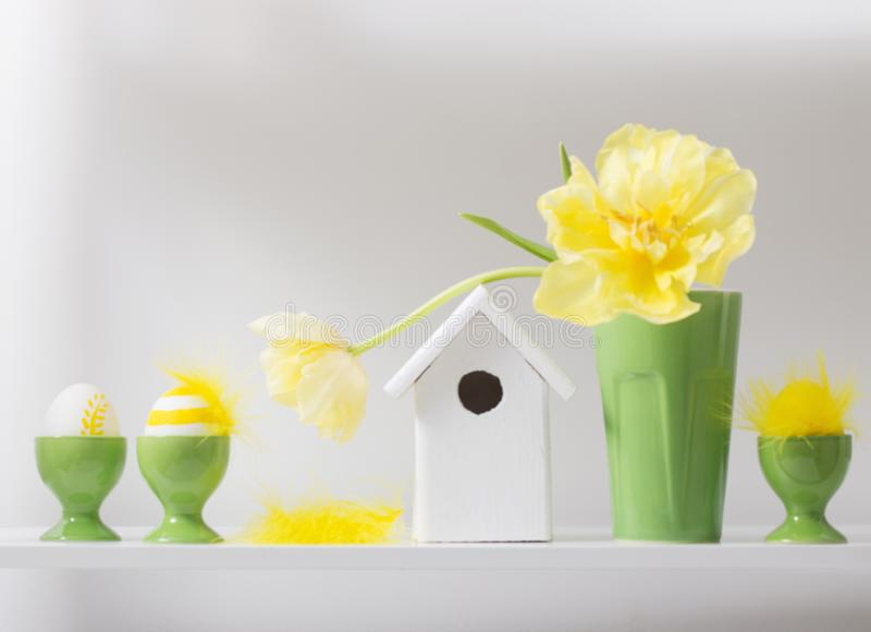 Easter decoration on white background stock photo
