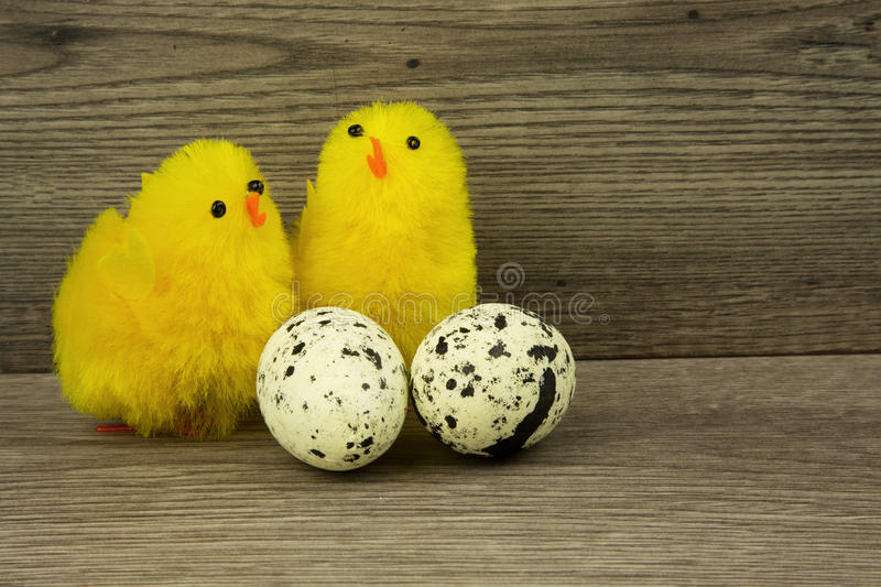 Easter decoration on a wooden countertop royalty free stock image