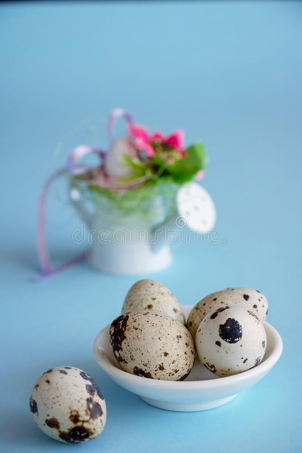 Easter decorations on a blue background. royalty free stock photo