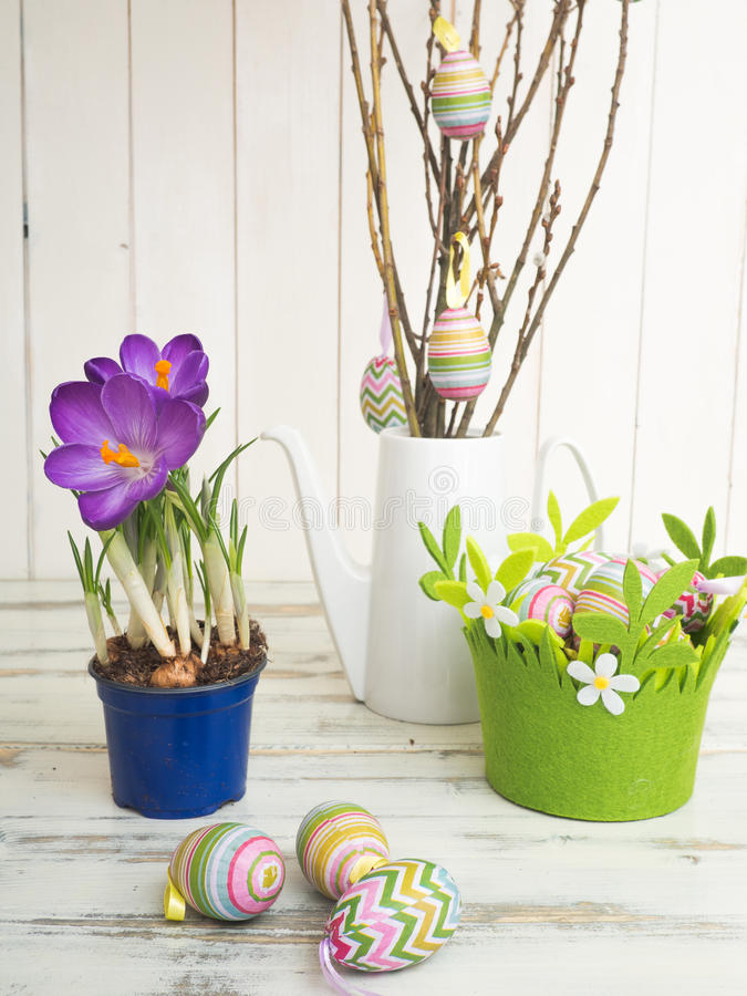 Easter decorations on a white background stock photo