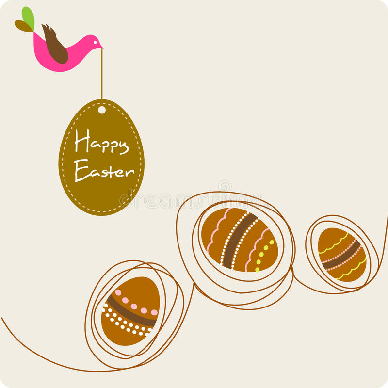 Easter decorative eggs with bird vector illustration