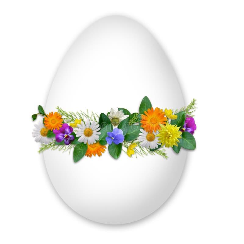 Easter decorou o ovo com flores e plantas ilustração do vetor