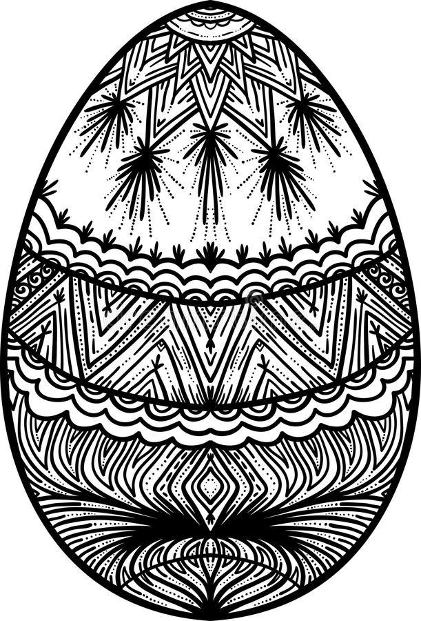 Easter design element. Ornamental black and white easter egg, element for design royalty free illustration