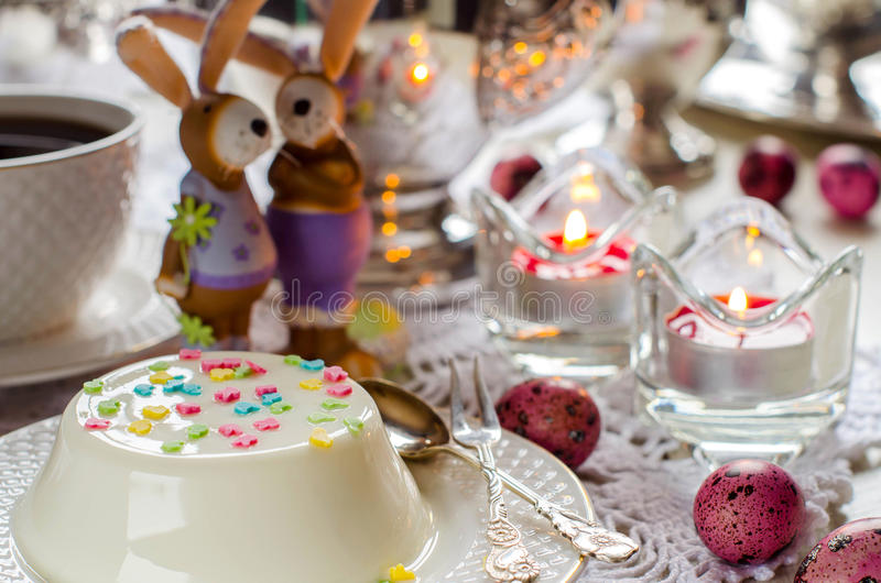 Easter. Desserts. The beautifully decorated table. royalty free stock images