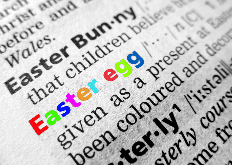Easter in dictionary. The words 'Easter Egg' as shown in an English language dictionary, focused and highlighted in bright Easter colours. The RAW file is royalty free stock images