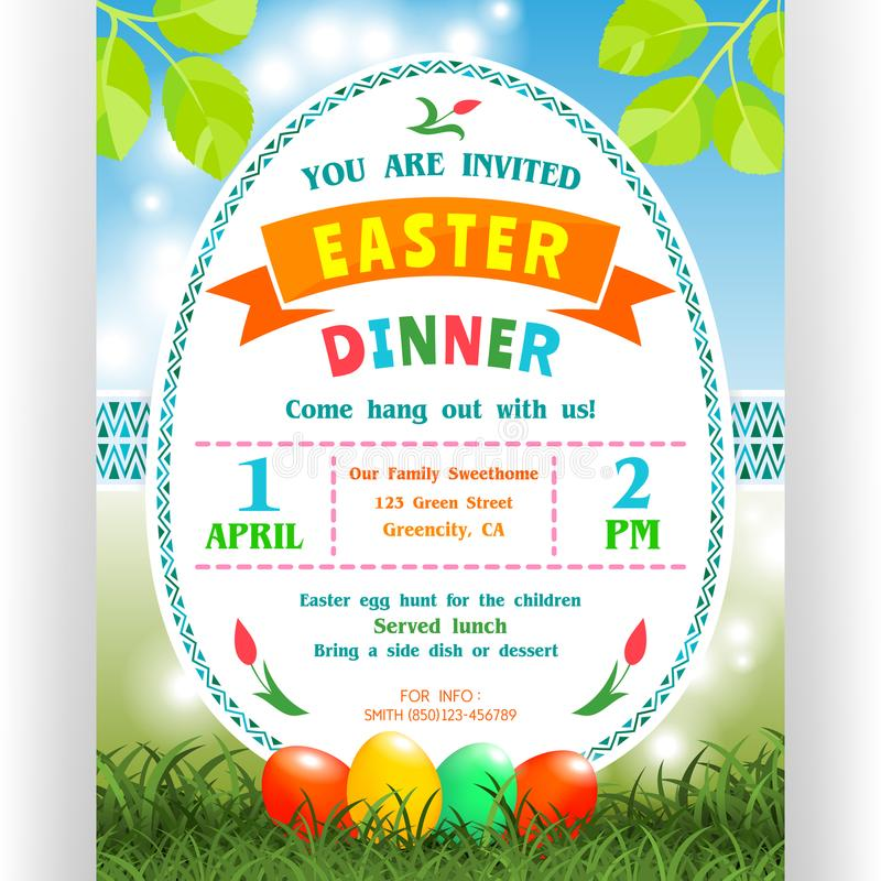 Easter dinner announcing poster template stock vector text customized for invitation with details about the date time location four colorful eggs ornaments and shining spring background stopboris Images