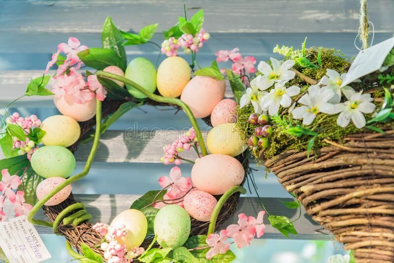 Easter door wreath close up. Fesctive door eoration for easter holidays royalty free stock image