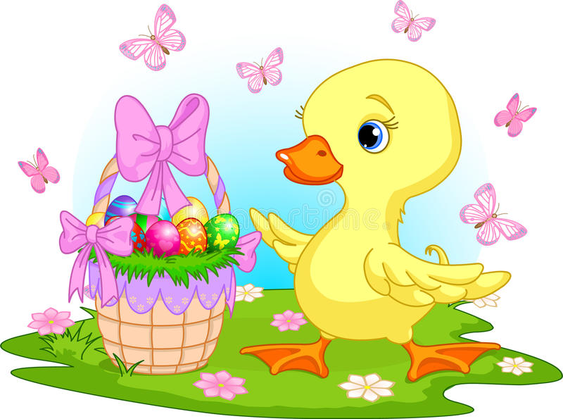 Easter duckling with a basket of eggs vector illustration