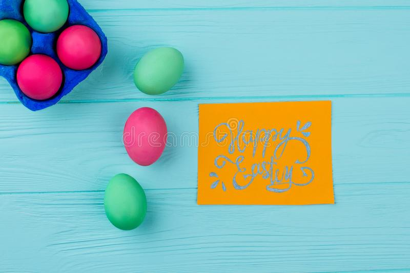 Easter dyed eggs on wooden background. stock photography