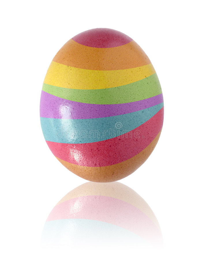 Easter Egg. Painted with color stripes, isolated in white royalty free stock image