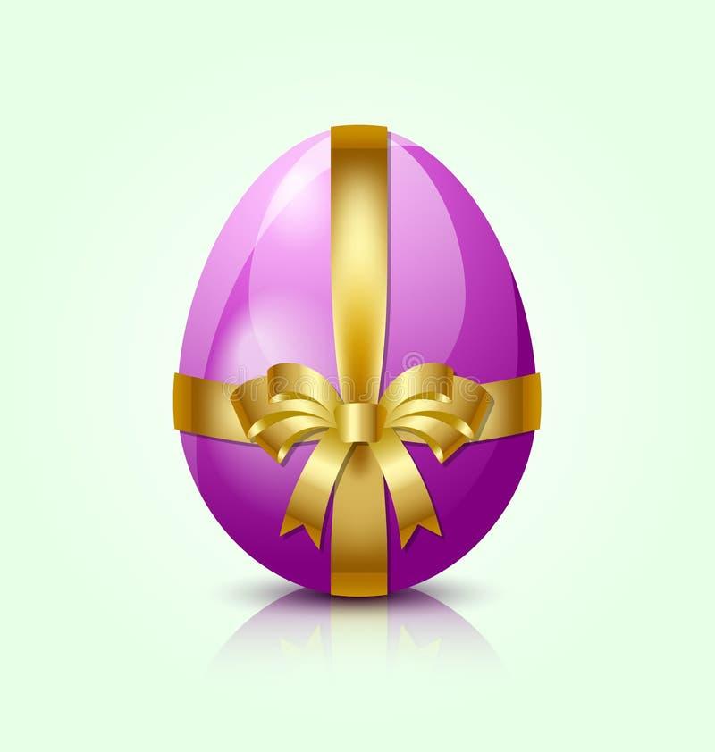 Easter egg. Purple Easter egg with golden ribbon stock illustration