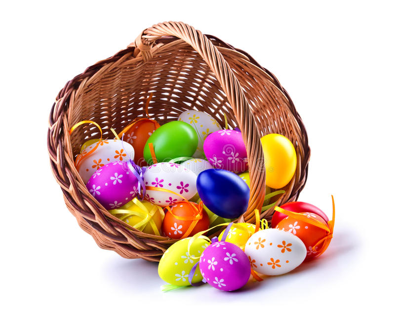 Easter. Colorful Easter eggs on a white background stock image