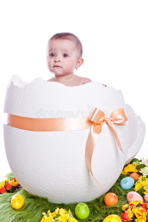 Easter egg with baby royalty free stock images