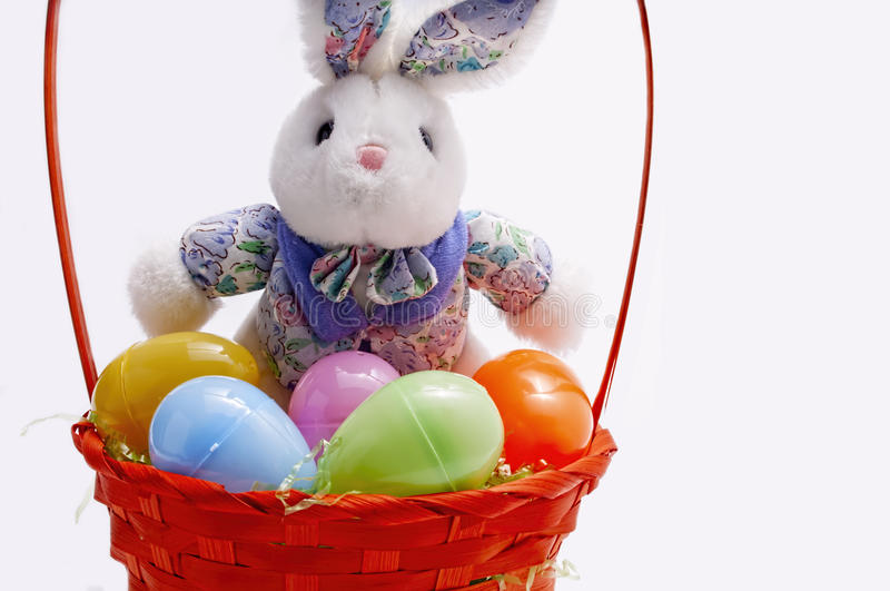 Easter egg basket,bunny stock images