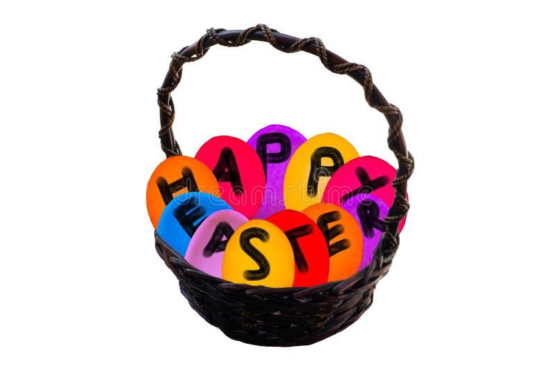 Easter egg basket on isolated background stock photos