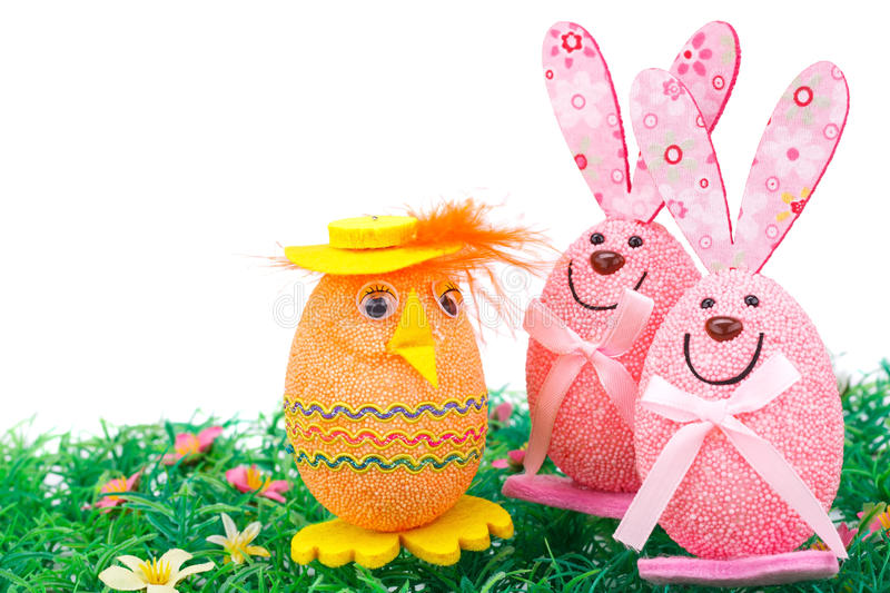 Easter egg and bunnies decoration royalty free stock photography