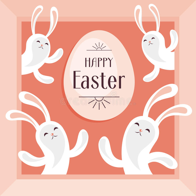 Easter egg and bunnies. Happy Easter greeting card. The image of Easter eggs and white rabbits on a pink background. Vector illustration royalty free illustration