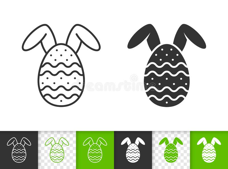 Easter egg with bunny ears black line vector icon vector illustration