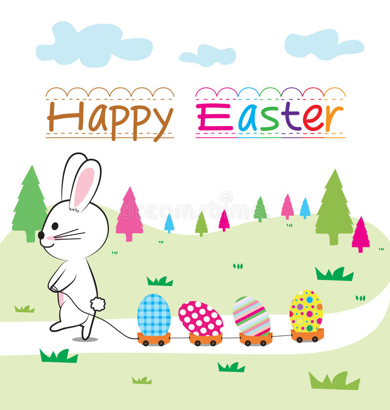 Easter egg. Bunny and egg on nature background royalty free illustration