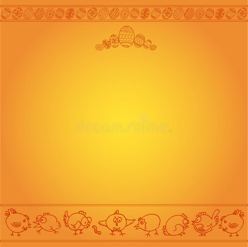 Easter egg chicken engraving background stock illustration
