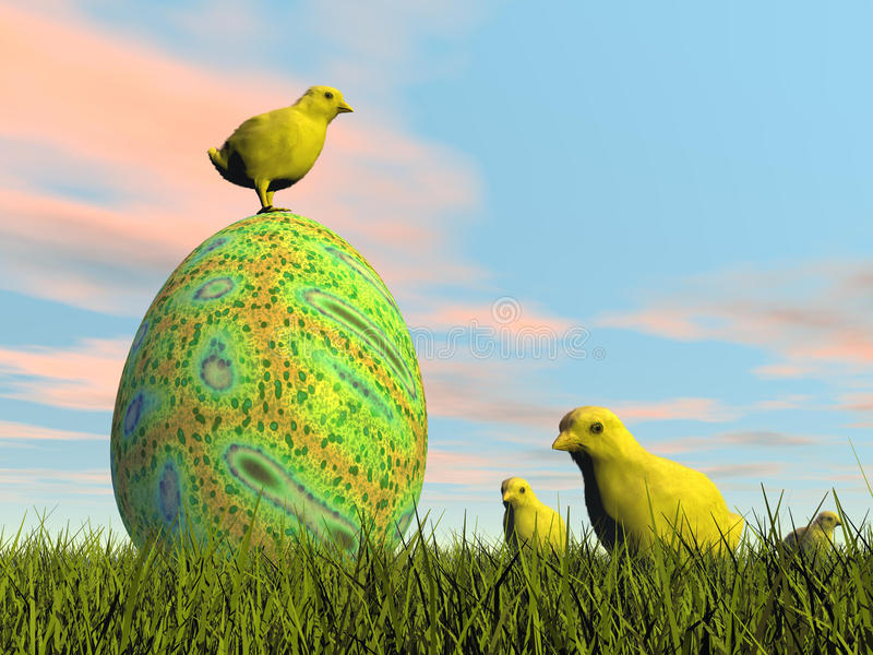 Easter egg and chicks - 3D render royalty free illustration