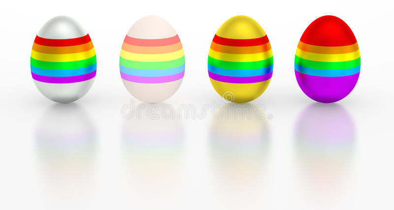 Easter egg colorful metallic rainbow color. Isolated eggs with different glossy shiny colorful rainbow, silver and golden base colors. Stand up eggs stock illustration