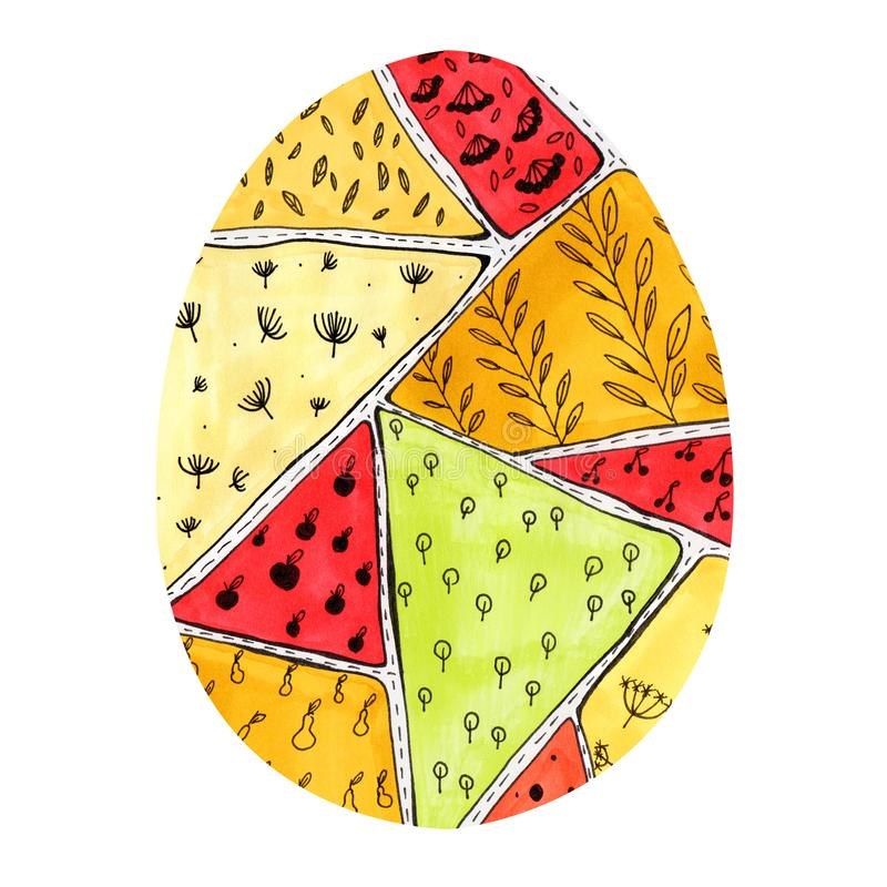 Easter egg with a colorful pattern in doodle style royalty free stock photography