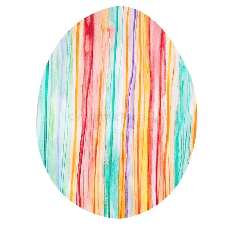 Easter egg with a colorful vertical striped pattern stock image