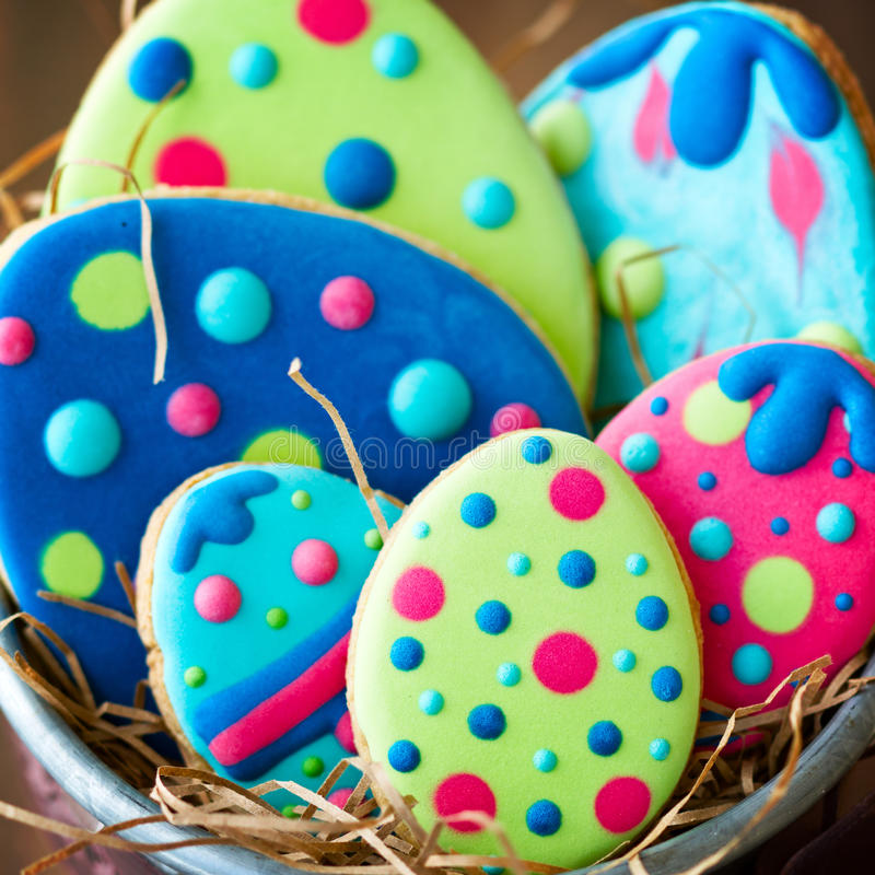 Easter egg cookies stock image