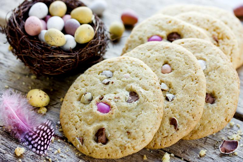 Easter egg cookies, homemade cookies with chocolate candy eggs stock photography