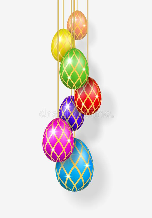 Easter egg 3d. Bright hanging Easter eggs on rope, isolated on white background. Decorative design for greeting card stock illustration