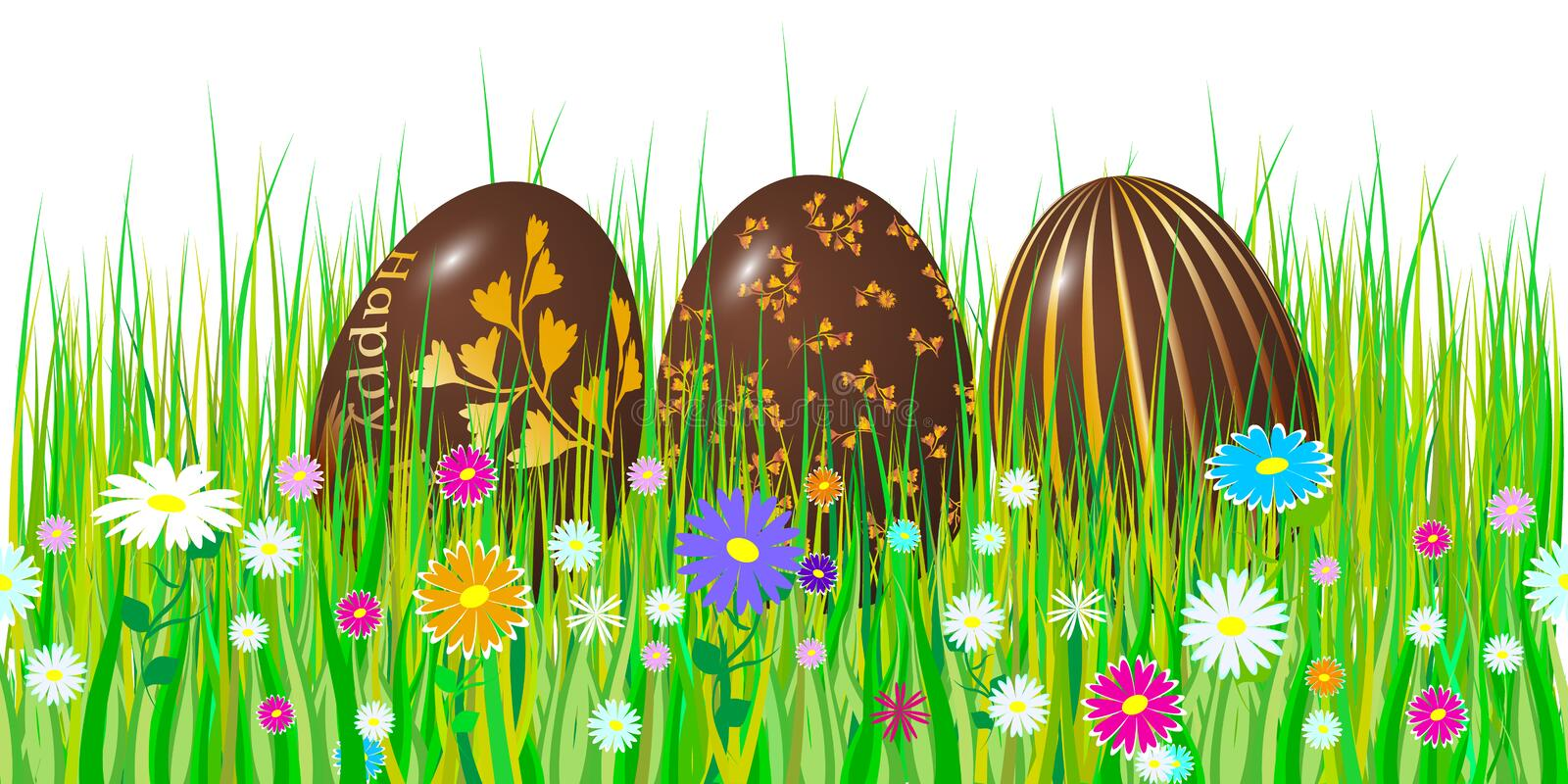 Easter egg 3d. Chocolate brown eggs set. Happy Easter celebration. Vector illustration. vector illustration