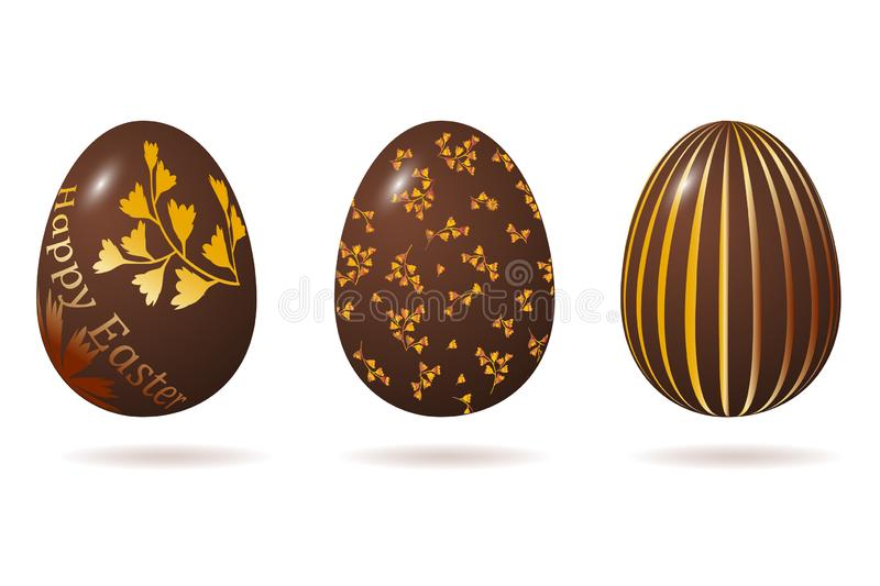 Easter egg 3d. Chocolate brown eggs set. Isolated on white background. Happy Easter celebration. Vector illustration royalty free illustration