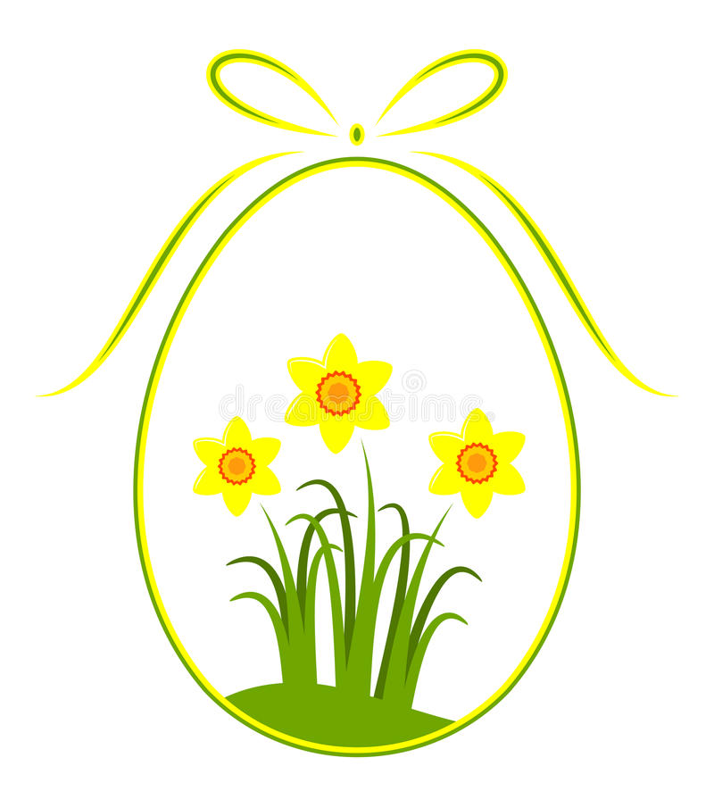 Easter egg with daffodil decor